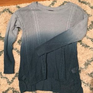 American Eagle Teal and Gray Ombré Sweater